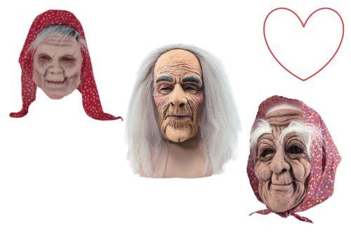 Old People Creepy Mask Latex Grey Hair Wig Fancy Dress Halloween