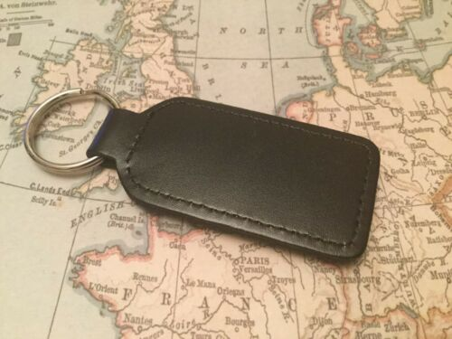 FIAT ABARTH Quality Black Real Leather Keyring Oblong