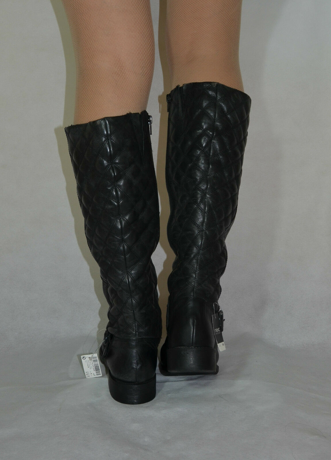 Women Black Knee Knee Knee High Boots Low Heel Real Leather Next   Size 4 34e441