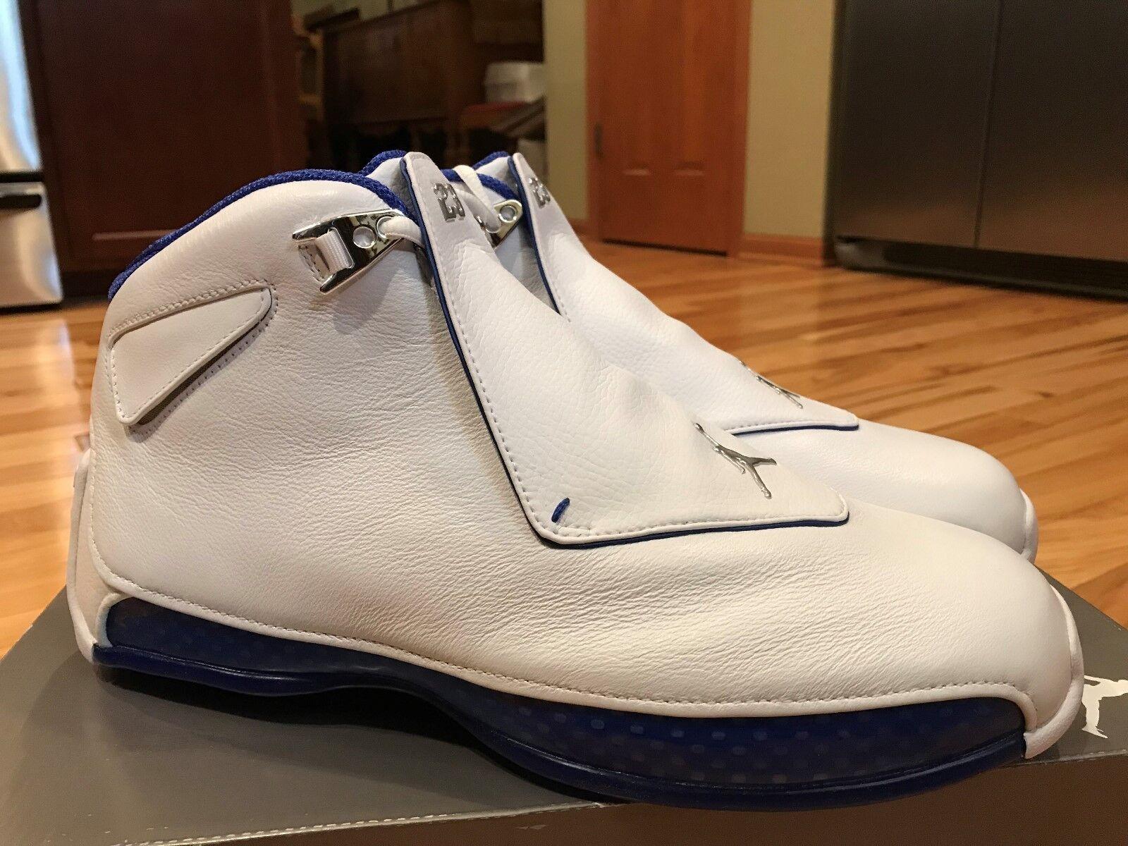 1f216363b8 Nike Air Jordan 18 Retro White Royal bluee Silver AA2494 106 Size 12  NOBOXTOP. Special field Air Force 1 ...