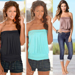 HOT-Womens-Strapless-Bandeau-Boob-Tube-Tops-Ladies-Summer-Casual-Blouse-T-Shirt