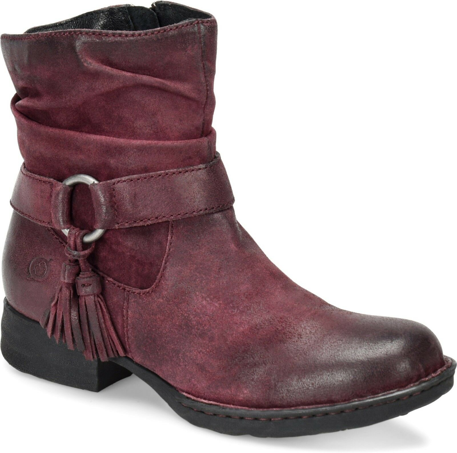Born Cory Womens Size 7M Harness Tassel Burgundy Distressed Suede Suede Suede Booties New e51ad4