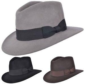 Uomo-o-Donna-100-Lana-Fedora-Cappello-con-Grosgrain-Fascia-di-Feltro-Panama