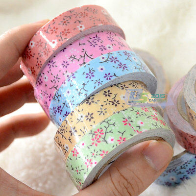 1pc Colors Flower Tape Decorative Washi Sticky Paper Fabric Tape Adhesive Craft