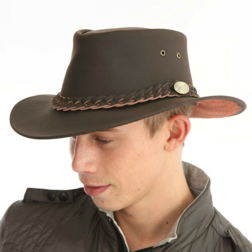 Gents 100/% Leather Australian Cowboy Hat in Brown Size XLARGE