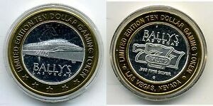 Bally-039-s-Ten-Dollar-10-Gaming-Token-999-pure-silver-w-gold-tone-edging-MONORAIL