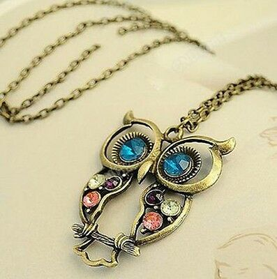 Vintage Crystal Rhinestone Owl Drop Pendant Long Chain Necklace Lady Jewelry