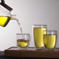 Double Layer Wall Clear Glass Tea Cup + Bamboo Lid Set Glass Coffee Milk Mug Em