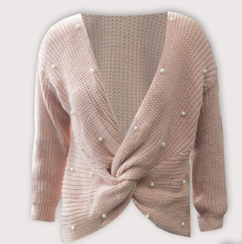 New Ladies Pearl Studded Knot Knitted women Jumper UK Sizes 8-14
