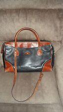 Vtg Bally Black Brown Leather Satchel Attache Bag  With Shoulder Strap Handles
