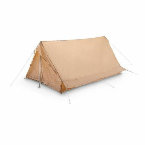1444a8cd291 NEW French Army Tent 2 Man Lightweight Tan Tent With & Pole Pegs Camping  nxnidt390-Other Tents & Canopies