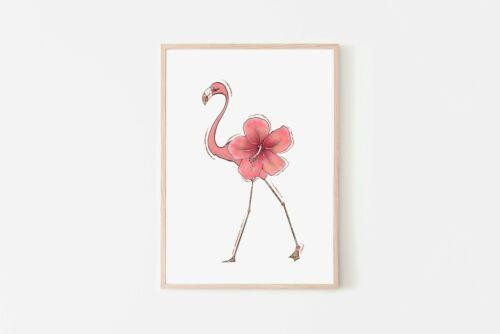 Pink Flamingo Nursery Bedroom Art Prints Girls Walls Decoration A4