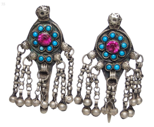 2 Pcs Antik Orient Nomaden Schmuck Silber Anhänger Afghan Pendant Necklace 17/35 äRger LöSchen Und Durst LöSchen