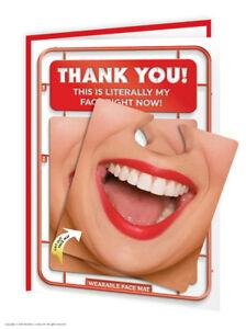 Super Bonbon Merci Merci Carte Visage Mat Funny Novelty Cheeky