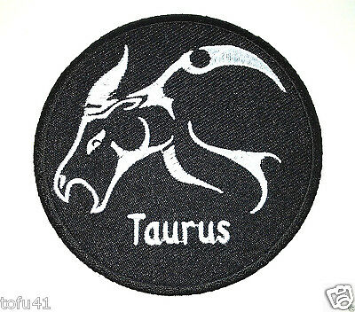 "***TAURUS*** /""EMBROIDERED ZODIAC BIKER PATCH/""  3/"" Rd P2924 E"