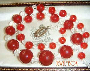 VINTAGE-ART-DECO-CZECH-CARNELIAN-Glass-Crystal-Graduated-Beads-NECKLACE