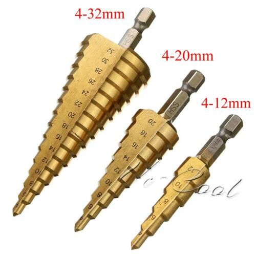 3x Step Drill Cone Set Titanium Steel Metal Hole Cutter Tool Kit 12mm 20mm Bag