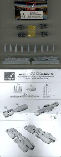 Armory Models 1//48 MZBD-U4T w//OFAB 100-120 Soviet Bomb Rack w//Bombs Resin /& PE