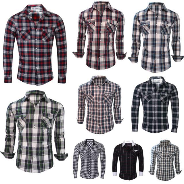 80e577eb2b2e Mens Long Sleeve Branded Slim Fit Check Print Smart Cotton Work Shirts S-XL