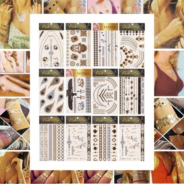 Tatouages Temporaires Ephémères Flash Tatoos Métallique Bijoux Peaux Body Art