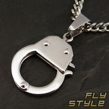STAINLESS STEEL PENDANT HANDCUFF punk domina gothic bdsm goth rockabilly emo sm