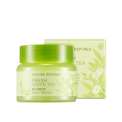 NATURE REPUBLIC Fresh Green Tea 80 Cream 55ml [Moisture] Korean Cosmetics