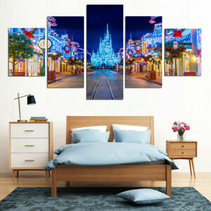 HD Print Oil Painting Home Decor Art on Canvas Disney Bright Night 5PCS Unframed