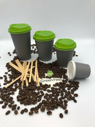 8oz 12oz Coffee Party PAPER CUPS GREY Disposable LIDS Cold Hot Drinks Birthday