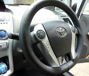 FOR-TOYOTA-PRIUS-MK2-BLACK-REAL-LEATHER-STEERING-WHEEL-COVER-BLUE-STITCH-03-09