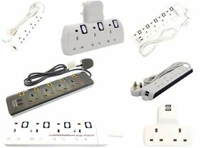 NEW 2/3/4 WAY EXTENSION LEAD GANG NEON ADAPT PORT USB PORT WITH SURGE PROTECTION