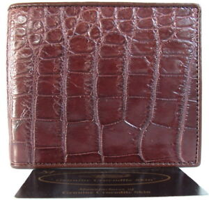 Genuine Real Crocodile Belly Alligator Leather Skin Man Bifold Wallet Dark Brown