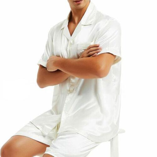 Pyjamas Set Mens Satin Sleepwear M~3XL Plus Size Homewear Short Sleeve
