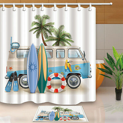 Dog and surfboard Bathroom Shower Curtain Waterproof Fabric w//12 Hooks 71*71inch