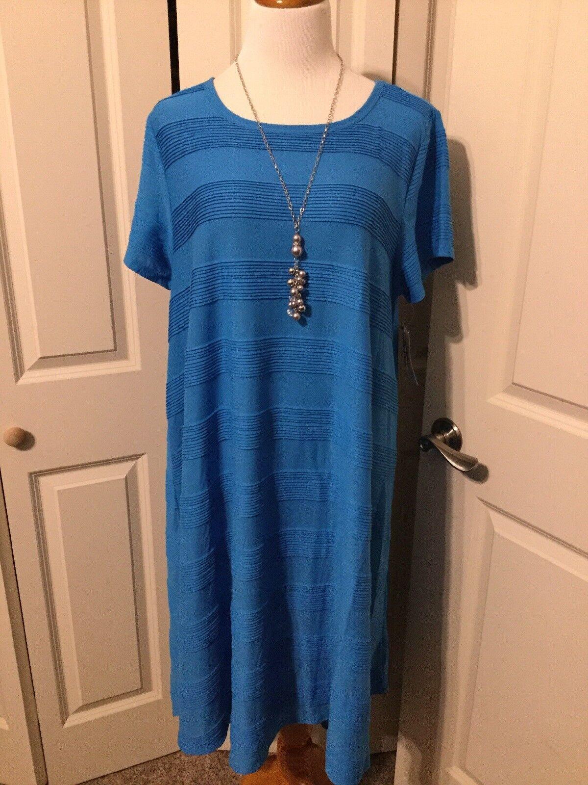 NWT Lularoe Solid Blau Ribbed Pin Tuck Carly Dress Größe 3XL