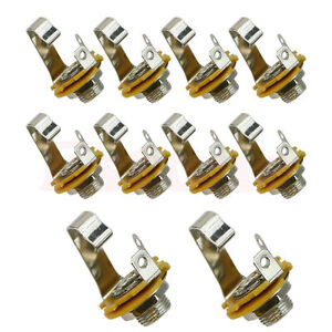 10pcs-1-4-034-6-35mm-Silver-Mono-Input-Jack-Socket-Electric-Guitar-Bass-Audio-TO