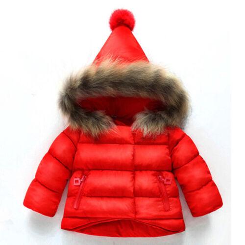 Toddler Kid Baby Girl Coat Jacket Autumn Winter Warm Fur Hooded Outwear Snowsuit