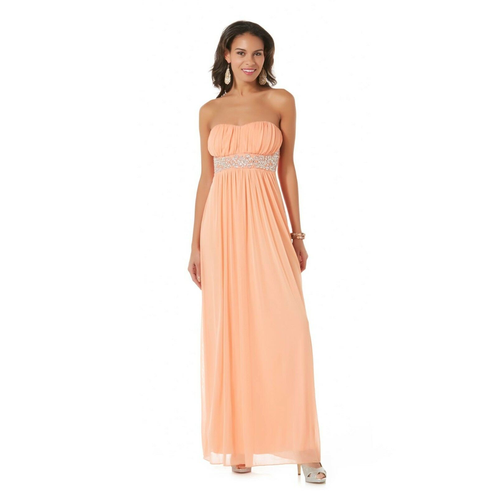 New City Triangles Junior Strapless Beaded Party Dress Apricot Size 11