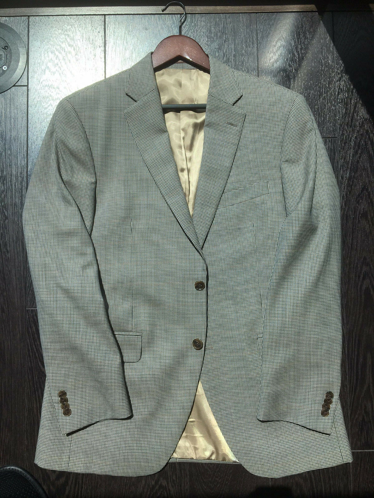 Peter Millar Classic Fit Houndstooth Sport Coat Tan Houndstooth 40R