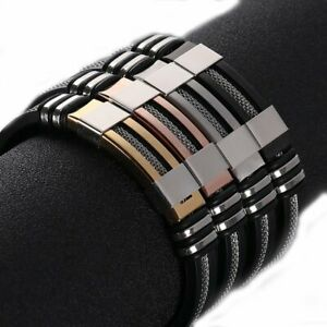 Men-039-s-Stainless-Steel-Silicone-Leather-WristBand-Punk-Style-Bracelet-Bangle-Gift