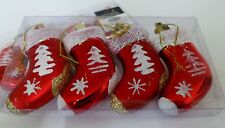 4 Pretty Red Glittered Christmas Santa Stockings Display Xmas Baubles Decoration