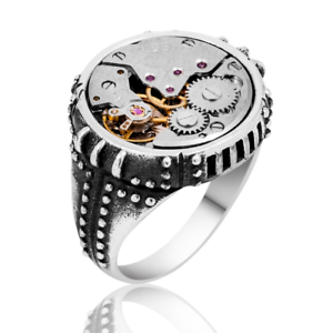 Turkish 925 Sterling Silver no stone CLOCK Handmade Mens Mans Ring ALL SİZE USA2