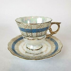Vintage-Tea-Cup-amp-Saucer-Japanese-Enesco-Luster-Wear-Blue-Gold-Gilt-BEAUTIFUL