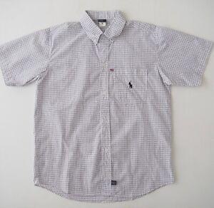 POLO-RALPH-LAUREN-Mens-Short-Sleeve-Button-Shirt-Size-M-Blue-White-Check-NWOT