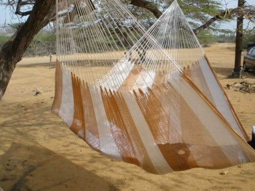 New Handwoven Mayan Mexican Nylon Double Hammock Brown White