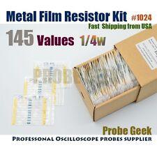 145  Values Total 10pcs each 1% 1/4W Metal Film Resistor Assortment Kit #1024