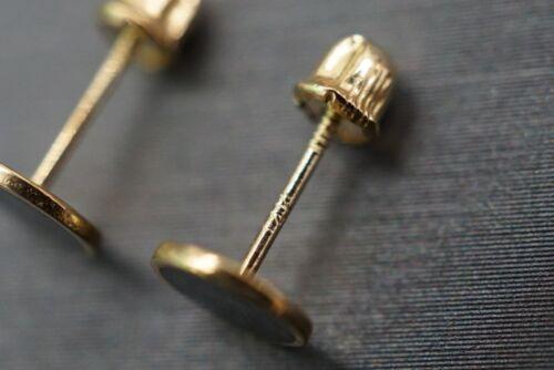 14K Solide Or Jaune À Vis Arrière Boucles d/'oreilles