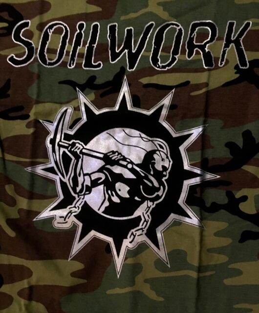 SOILWORK cd lgo SWEDISH METAL ATTACK Est 1996 Official Camouflage SHIRT MED new