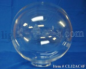 "12"" Acrylic Clear Plastic Round Globe Lamp Light Fixture"