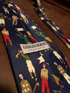 Giorgio-Armani-Cravatte-Golf-Handmade-100-Silk-Navy-Blue-Tie-Made-In-Italy