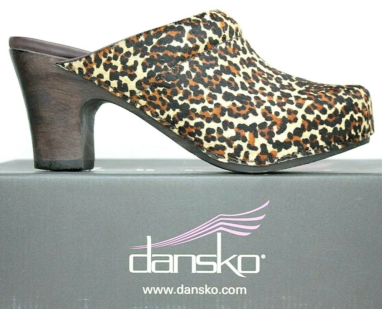 Dansko Womens Slide Mule Clog size 7.5-8 M Leopard Haircalf Heels MO10 FW356